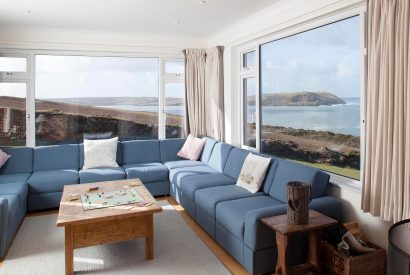 Lounge at Penroy, a self-catering holiday home in Polzeath, North Cornwall