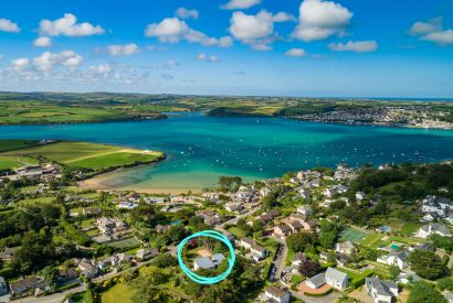 Aerial view of Radoon, a self-catering holiday home in Rock, North Cornwall