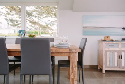 Dining table at Rosemar, a self-catering holiday home in New polzeath, North Cornwall