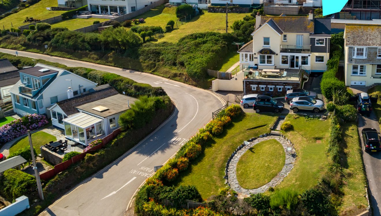Aerial view of Seaview, a self-catering holiday home in Polzeath, North Cornwall