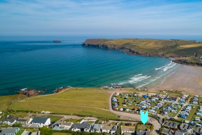 Aerial view of Seaview, a self-catering holiday home above Polzeath beach