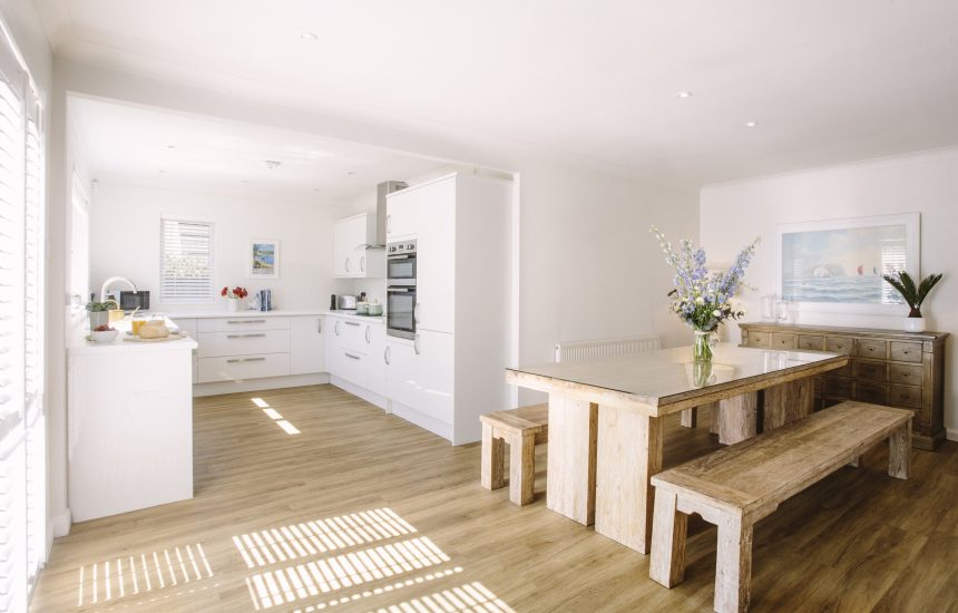 Kitchen and dining room at Slipper Rock, a self-catering holiday cottage in Rock, North Cornwall