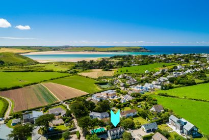 Aerial view of Tamarisk Lodge, a self-catering holiday home in Daymer Bay, North Cornwall