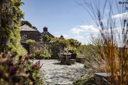 Sun terrace at The Farmhouse, a self-catering holiday home on Cant Farm near Rock, North Cornwall