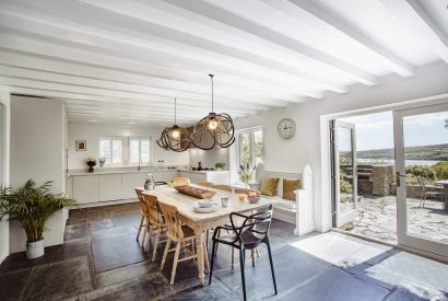 The kitchen at The Farmhouse, a self-catering holiday home near Rock, North Cornwall