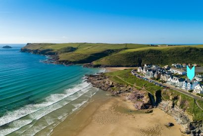 Aerial view of Tristram, a self-catering holiday home in Polzeath, North Cornwall
