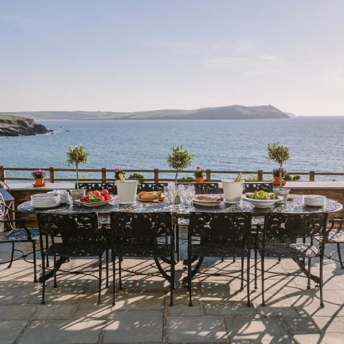 Sun terrace at Tristram, a self-catering holiday cottage in New Polzeath, North Cornwall