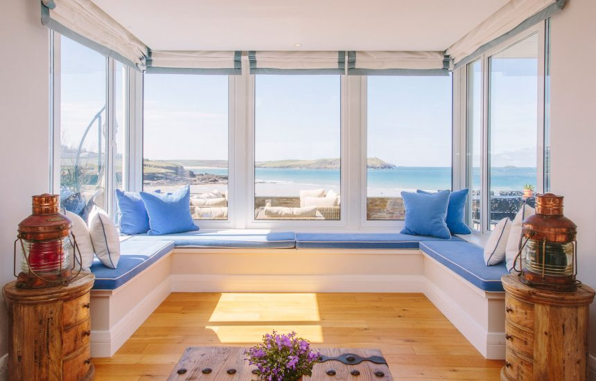 Downstairs living room at Tristram, a self-catering holiday house in New Polzeath, North Cornwall