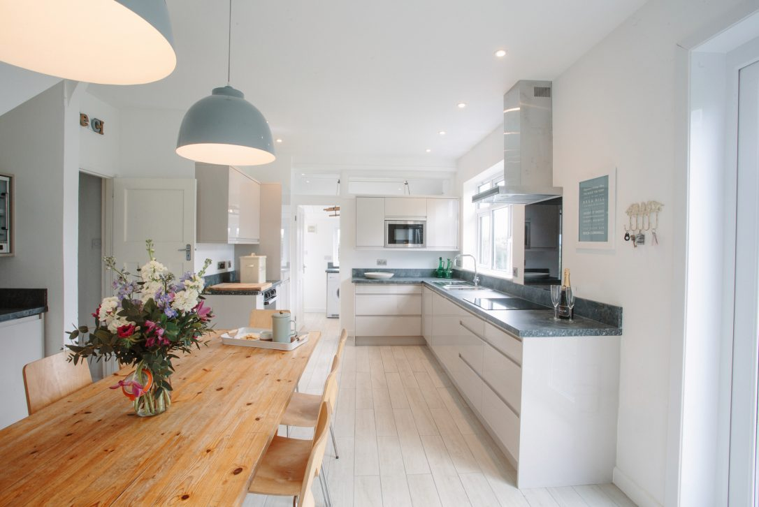 Kitchen at Upper Pen-y-Bryn a self-catering holiday home in Daymer Bay, North Cornwall