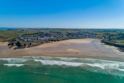 Drone photo of Polzeath, North Cornwall