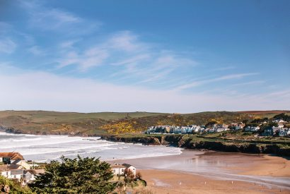 The view from the balcony at Vinnick Rock, a self-catering holiday home in Polzeath, North Cornwall