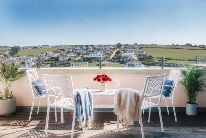 The balcony at Vinnick Rock, a self-catering holiday home above Polzeath beach, North Cornwall